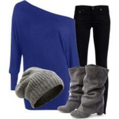 Cobalt sweater, grey beanie and boots