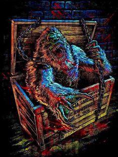 The Crate by Coki Greenway Dark Artwork, Cool Artwork, Amazing Artwork, Horror Posters, Horror Films, Tom Savini, George Romero, Horror Artwork, Sci Fi Movies