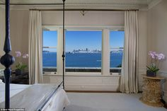 Exquisitely framed: San Francisco from the master suite is seen here...