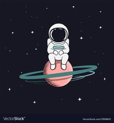 """Buy the royalty-free Stock vector """"astronaut sits on saturn.Cute spaceman alone in outer space. Wallpaper Space, Galaxy Wallpaper, Cartoon Wallpaper, Art And Illustration, Astronaut Illustration, Space Drawings, Art Drawings, Astronaut Drawing, Astronaut Wallpaper"""