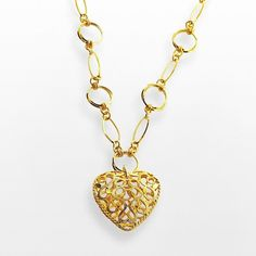 Elegante 18k Gold Over Brass Filigree Heart Pendant ($120) ❤ liked on Polyvore featuring jewelry, pendants, yellow, gold circle pendant, charm pendants, yellow gold heart pendant, heart pendant and yellow gold pendant