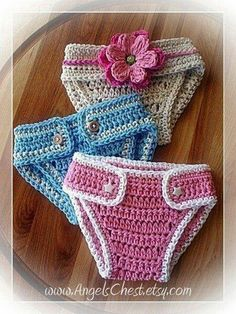 Crocheted baby diaper covers