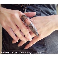 Dagon Full Finger Armor Ring Gothic Flourish Filigree One ring ($30) ❤ liked on Polyvore featuring jewelry, rings, band rings, goth rings, armor ring, finger armor ring and round ring
