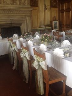Sage green organza and white lace chair sashes