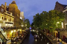 The streets along the winding canal in Utrecht, Holland