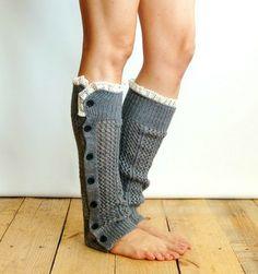 Grey Knitted Button Up Leg Warmer #nanamacs