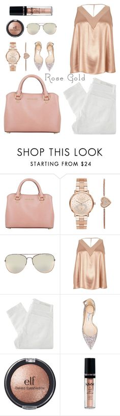 """""""Rose Gold"""" by cindycook10 ❤ liked on Polyvore featuring Michael Kors, River Island, Nobody Denim, Jimmy Choo, e.l.f., NYX, rosegold, polyvorecommunity, polyvoreeditorial and polyvorecontest"""