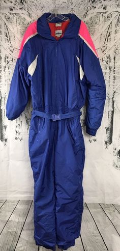 EDELWEISS One piece Snow SKI SUIT Vintage 80s 90s Blue Pink Neon Mens XL  a337ae1a5