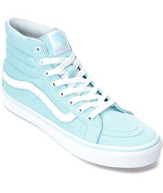 ef10b4f9d5 Vans Sk8-Hi Slim Crystal Blue   White Canvas Shoes