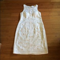 Sue Wong Beautiful sheer lace dress in ivory cream Gorgeous lace dress by Sue Wong with sheer back. Beautiful shape and very flattering. Worn once. Could fit size 8 to small 14. Would make unique and stunning wedding dress. Sue Wong Dresses