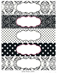 Black and White Damasks: Free Printable Toppers and Labels. Soap Labels, Soap Packaging, Creation Bougie, Free Label Templates, Labels Free, Printable Water Bottle Labels, Printable Tags, Etiquette Vintage, Free Frames