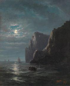 """ H. Mosny, Late 19th Century Coastal Scene in the Moonlight, 1878 """