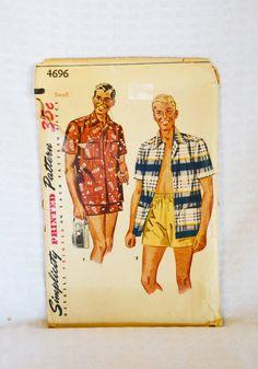 1950s Simplicity Pattern 4696 Men's Beach by MyVintageHatShop