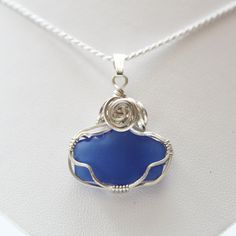 Royal blue sea glass necklace. Sterling $45.00  by Jewelrybeyondthesea  Click here to start your early holiday shopping.