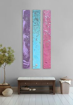 myth and Magic Abstract, 3 panel CUSTOM Wall Art- Large Modern Textured painting, - Pink, purple,turquoise, green, blue, silver    Etsy artwork:   http://www.etsy.com/listing/95314979/myth-and-magic-abstract-3-panel-custom