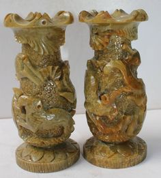 Vintage India 2 Stone Vase Pair Nicely Hand Carved Animals On Vase Decorative