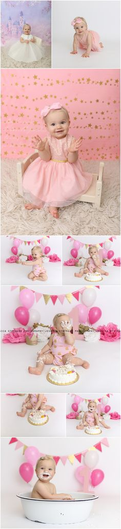 Girly pink and gold cake smash, cake smash, cake smash pictures, girl cake smash outfits, pink and gold, first birthday www.facebook.com/jessicastringerphotography