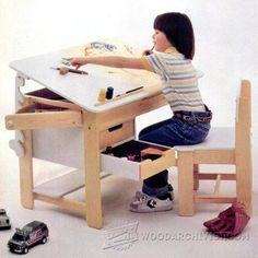 Kids Desk Plans - Children's Furniture Plans and Projects | WoodArchivist.com #woodworkingforkids