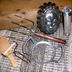 Vintage Kitchen Utensils Butter Paddle Meat Grinder Cheese Grater Antiques and Primitives. $20.00, via Etsy.