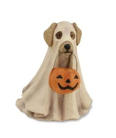 Spooky Ghost Dog Figurine Bethany Lowe Halloween Trick Or Treat: Spooky Ghost Dog Even dogs want their Halloween treats! This spooky ghost dog is tall and made of resin, he makes a cute Halloween mascot. New from Bethany Lowe Designs. Retro Halloween, Country Halloween, Ghost Halloween Costume, Halloween Trick Or Treat, Halloween Party Decor, Spooky Halloween, Halloween Tricks, Halloween Stuff, Ghost Dog
