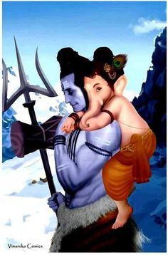 Bal Ganesha with his father Shiva. #shiv #shiva #Ganesha #Ganesh #hindu #art