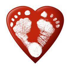 Red heart feet