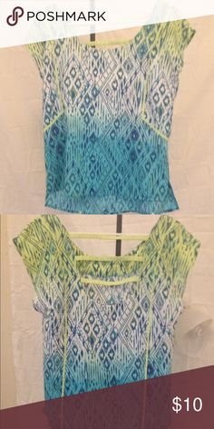 American Eagle Ikat shirt Beautiful ladder back shirt, medium. Only worn a few times, no signs of wear. American Eagle Outfitters Tops Blouses