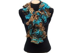 Hand knitted CamelTurquoise Brown ruffled scarf by Arzus on Etsy, $19.90