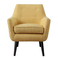 Perched on solid beech wood legs, this linen mustard yellow chair is a true classic and a fashionable addition to any decor. Featuring a clean Mid-Century aesthetic, the small scale button tufting adds a pop of personality to this hand-crafted chair. Yellow Accent Chairs, Accent Chairs For Living Room, Living Rooms, Living Spaces, Modern Chairs, Modern Furniture, Funky Chairs, Furniture Ideas, Tufting Buttons