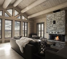 Love this feel! Hope that we will have some of the same look. Fireplace and windows