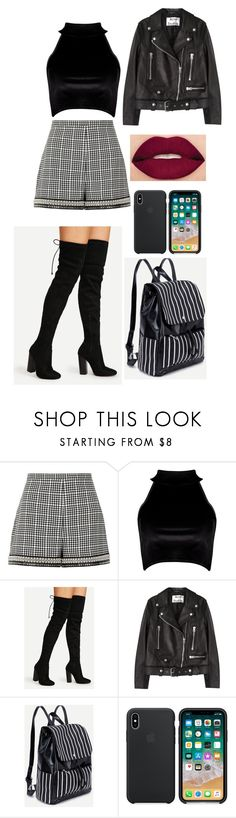 """""""Sans titre #1404"""" by rachkinou ❤ liked on Polyvore featuring River Island, Boohoo, Acne Studios and Smashbox"""