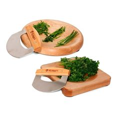 Hand turned herb bowls partnered with a classic mezzaluna allows for easy chopping with a simple roll of the wrist. Made from maple with a mineral oil finish. Made in Vermont. JK Adams