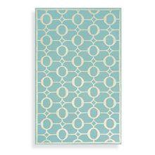 Aqua geometric print rug