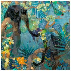 Marmont Hill 32 Inch x 32 Inch Jaguar and Green Parrots Gi Home Decor Wall Decor Paintings and Prints Van Gogh Paintings Canvas Art Prints, Painting Prints, Canvas Canvas, Oil Paintings, Parrot Painting, Plant Painting, C 18, Jaguar, Wrapped Canvas