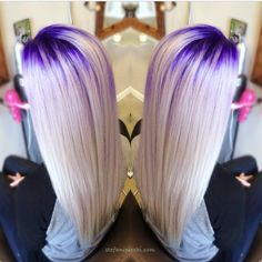 Beautiful platinum white hair color with purple crown lights by Stefani Picchi. Pravana #shearmadness13 HOT Beauty Magazine #crownlights #purplehair #hotonbeauty @hotonbeauty