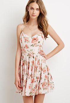 Rose Print Fit & Flare Dress   Forever 21 - 2000135530