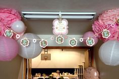Welcome banner for our shabby chic baby girl shower.