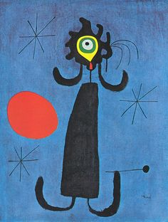J. Mirò - Woman behind the sun. Joan Miró  (April 20, 1893 – December 25, 1983) was a Spanish painter, sculptor, and ceramicist born in Barcelona.