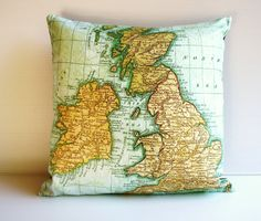 decorative pillow UK - map pillow cushion cover, organic cotton, pillow, 16 inch, 41cms cushion cover. $55.00, via Etsy.