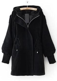 Hooded Drawstring Black Coat
