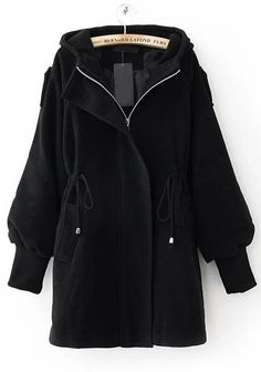 Hooded Drawstring Black Coat