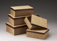 Set/5 Corrugated Box w/Tan Faux Suede