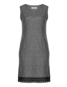 Steilmann - Kleid mit Wolle und Zierborte am Saum in Rot-meliert oder Grau-meliert (Größe 42 - 52)