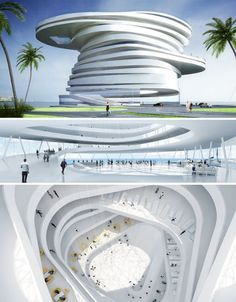 The Helix Hotel is the winning design in a competition for a five-star luxury hotel in the Zayed Bay of Abu Dhabi. Staggered asymmetrical forms give it its off-kilter appearance, and the hotel would partially float in the water adjacent to the Zaha Hadid-designed Sheik Zayed Bridge. Leeser Architecture gave the hotel 208 guest rooms and suites arranged around a helical floor, doing away with closed-off halls and opening each guest room to a large atrium.
