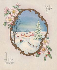 1940s Vintage Winter Snow Scene Christmas Card by StuckyEstateSale