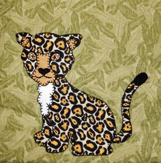 Cheetah PDF applique pattern;African safari animal quilt block; leopard quilt block; baby quilt pattern; childs quilt pattern; Ms P Designs by MsPDesignsUSA on Etsy