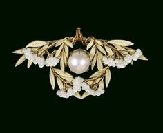 René Lalique (French, 1860-1945) - Laurel Leaves Brooch ca. 1903. Pink pearl, mother-of-pearl, enamel, gold.