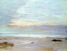 """Crepuscule in Opal: Trouville,"" James Abbott McNeill Whistler, 1865, Oil on canvas, 13.75 x 18.13"", Toledo Museum of Art."