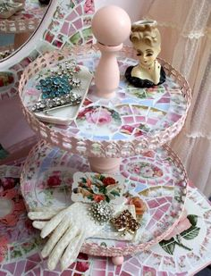 Beautiful 2 Tier Pink Shabby Mosaic Stand