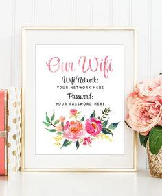 Guest Room Wall Decor, Wifi Password Print, Internet Password Printable, Peony Wall Art, Custom Wifi Printable, Be Our Guest Sign, Coral Art by DuneStudio on Etsy